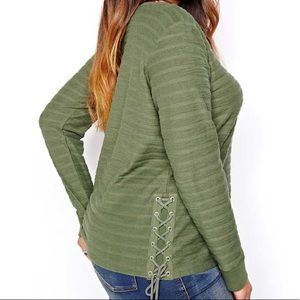 Love $ Legend Green Sweater with Lace